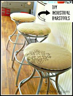 """Take the backs off your old barstools, add a simple new seat and you have fabulous """"new"""" industrial barstools!"""