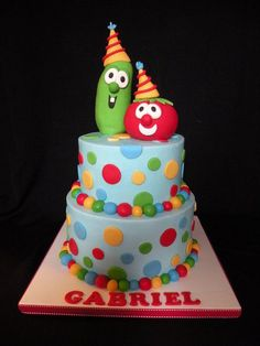 Veggie Tales  Cake by TeresaTastyTempt polka dots, blue green, blue cakes, kid birthdays, veggi tale, beauti veggi, veggie tales cake, veggie tales birthday cake, birthday cakes