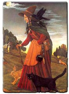 witchi woman, wise women, halloween cards, halloween witch, black cats