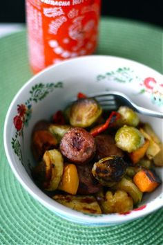 Fall Roasted Vegetables with Chicken Apple Sausage | AggiesKitchen.com #food #dinner #recipe
