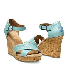 Look what I found on #zulily! Turquoise Metallic Linen Wedge Sandal #zulilyfinds