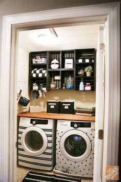 Easy and Inexpensive Laundry Room Makeover with Storage Crate Storage -- This could look really neat. All organized and such.....not like mine since my cabinets are too high for me to reach.