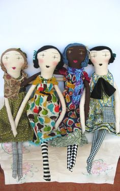 Eco Friendly, Recycled & Vintage Textiles cloth rag dolls