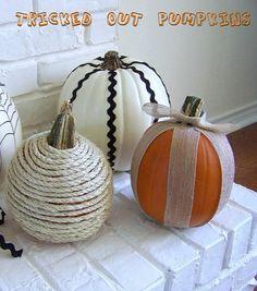 Hi Sugarplum | Trick out your pumpkins with burlap, jute, ric rac and paint