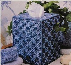 Shades of Blue plastic canvas tissue box