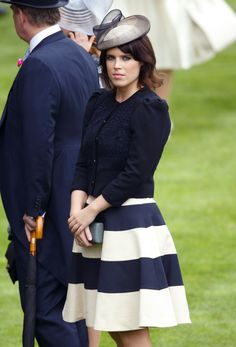 #VDJfashion #racefashion #hat Princess Eugenie of York sporting our monochrome dress at Royal Ascot