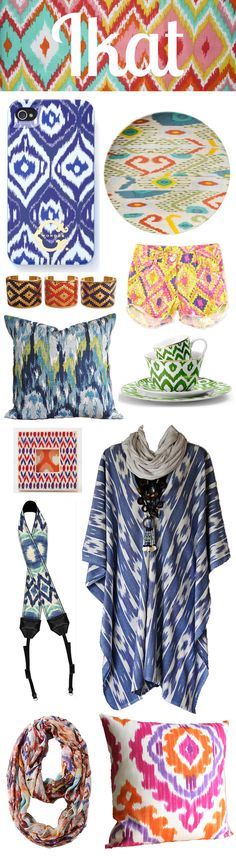 Ikat pattern (pillow on bottom & cups/saucers)