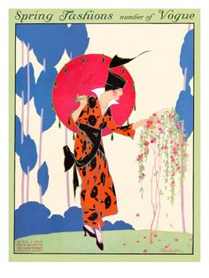 Vogue Cover - April 1914    Helen Dryden created this vintage illustration of a fashionable lady in an orange and black wrap dress with a high collar and a fantastic hat inspecting a small blossoming tree in her garden. Dryden's works were Art Deco before the style was widely recognized. She contributed many covers and fashion illustrations to Vogue during the 1910s and '20s, including this one, which appeared on the magazine's April 1, 1914, cover. vintag, april 1914, helen dryden, art deco fashion, fashion illustr, vogue magazine, vogu cover, fashion drawings, vogue covers