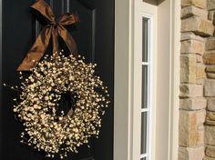 Berry Wreath  Front Door Wreath  Chocolate and by twoinspireyou, $75.00