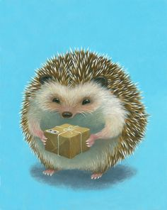 Hedgehog Gets a Package by HuldufolkHouse on Etsy, $25.00