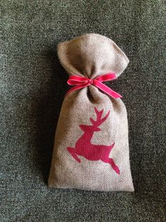 Reindeer in Red Burlap bag by BecauseILove2 on Etsy, $10.00