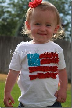 4th of July shirt idea: Adorable ruffle flag shirt #4thofjuly #shirt #girls #keepingitsimplecrafts