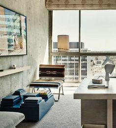 King room: plush linens, floor to ceiling windows & custom ash wood desks and bedside tables