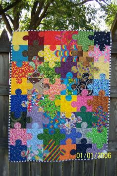 I sooooo want this!   Puzzle Pieces - Autism Awareness Quilt - made by bitsandpiecesquilts, $50.00
