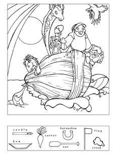 Coloring sheets and hidden puzzle sheets for Bible lessons