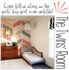 Come follow along for the slow-but-sure transformation of our twins' toddler room! DIY Herringbone Patchwork Wall, Upholstered Fainting Couch/Toddler Beds, Simple Roman Shades, Sparkly Chandy's and MORE {Sawdust and Embryos}