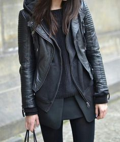 fashion, inspiration, winter, black layer, outfit