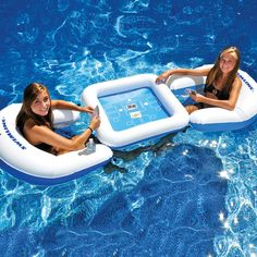 Floating Game Station - two chairs with cup holders, a detachable game table and a set of waterproof playing cards.