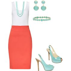 Love the idea of a coral pencil skirt with robins egg blue accents (I would try the shoes, and bracelet)