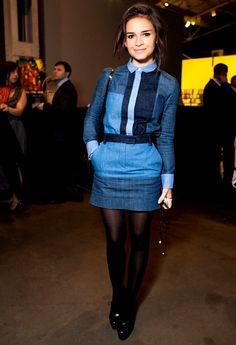 fashion, colors, street styles, double denim, patchwork denim, miroslava duma, blog, patchwork jeans outfit, blues