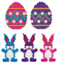 I haven't seen these cute bunnies before. These would make cute decorations for Easter trees. Easy enough for lower elementary kids.   Hama/Perler bead Easter patterns.