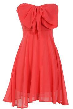 Coral Oversized Bow Chiffon Dress