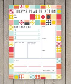 Printable Day Planner Family Organiser Mid Century Colourful Pattern