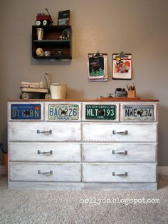 License plate dresser. Since my son will have a vintage transportation themed room...This is perfect (except grey, not white)!