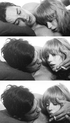 Alain Delon and Marianne Faithfull in 'The Girl on a Motorcycle', 1968