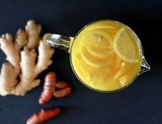 Ginger Turmeric Tea - The ingredients pack a powerful punch and act as an anti-inflammatory, anti-infective, antioxidant, lymph system cleanser and more. Perfect to jump start weight loss and boost the immune system during cold & flu season!