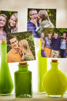 fun and easy way to display pictures :) painted glass bottle DIY (less than $5)