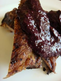 """~ """"Ribs with Blueberry Bar-B-Que Sauce"""".... I just love Blueberries =)"""