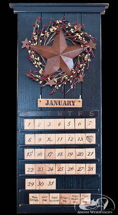 Black Barn Star Wooden Perpetual Calendar, $129
