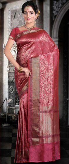Reddish #Orange Pure #Banarasi Valkalam #Silk #Saree with Blouse @ $203.88 | Shop @ http://www.utsavfashion.com/store/sarees-large.aspx?icode=snn52d