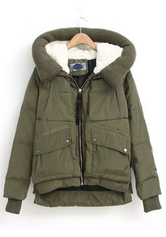 / Green Hooded Long Sleeve Eiderdown Down Coat