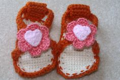 Orange and white crocheted baby sandals with by mylittlebows,