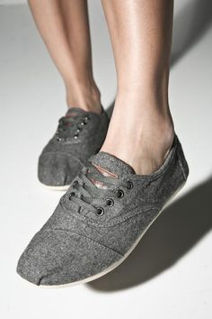 Toms with laces.