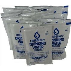 Datrex Emergency Water Packet - my husband and I each have a supply of these in our vehicle bug-out bags, along with a stainless steel water bottel. The bags that hold this water don't break down like plastic water bottles will do in your trunk.