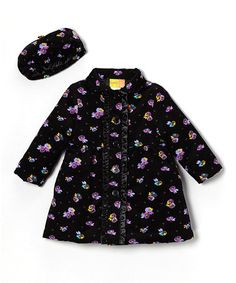 Another great find on #zulily! Black Floral Ruffle Coat & Beret - Infant & Toddler #zulilyfinds
