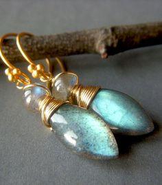 Labradorite Briolette Earrings on Goldfill by beadstylin on Etsy