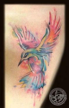 Beautiful Watercolor Humming Bird Tattoo