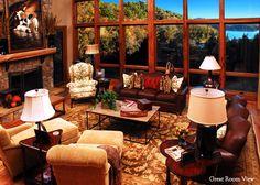 lake houses, interior, living rooms, lodg, dream build