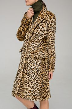 Longline textured coat in leopard - FrontRowShop