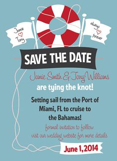 Cruise Wedding Save the Date Customizable Printable by KateOGroup, $15.00