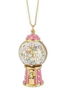 Betsey Johnson ~ CANDY LAND GUMBALL MACHINE ~ Pink Bubble Gum Necklace RARE !