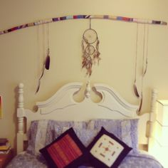 Painted piece of driftwood with dream catcher. Hippy, bohemian, decor.