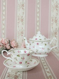 teapot, pink roses, tea time, vintage chic, tea sets