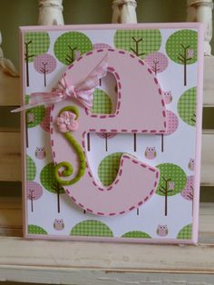 Owls Custom Initial Wall Letters Monogram Name Personalized Child Girls Room Girly New Baby Whimsical Pink Green Trees