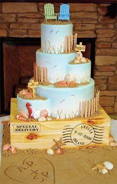 Cute beachy wedding cake!