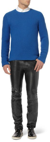 Acne Skinnyfit Depp Fly Leather Trousers in Black for Men - Lyst
